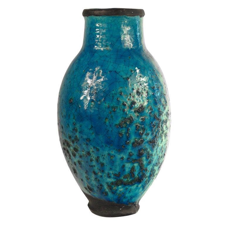 Turquoise Ceramic Vase At 1stdibs