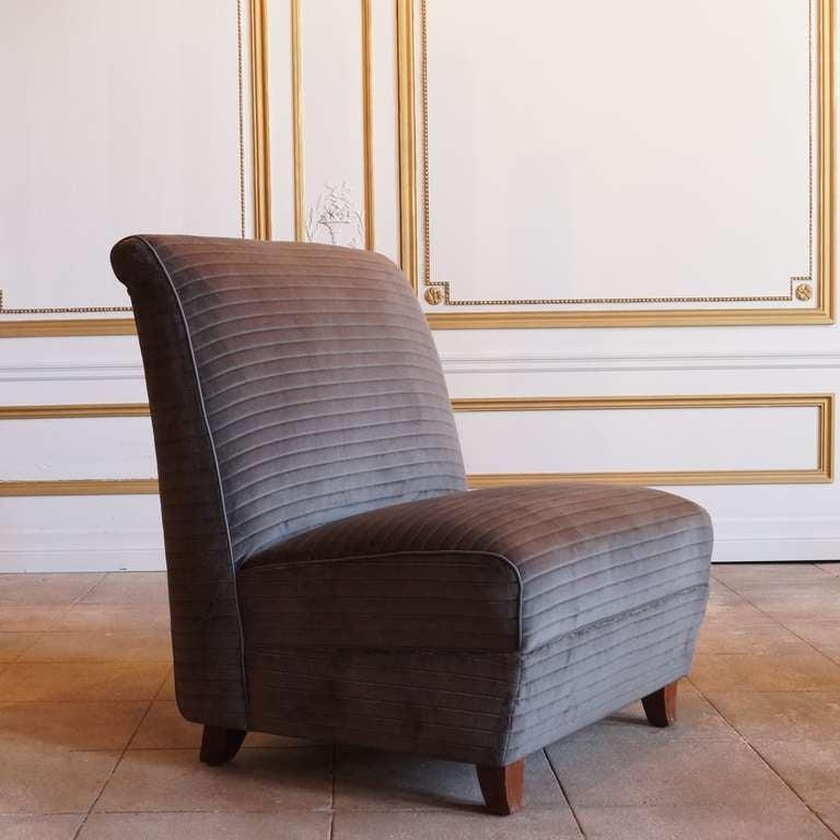 Rare Pair Of Eugene Schoen Custom Designed Slipper Chairs