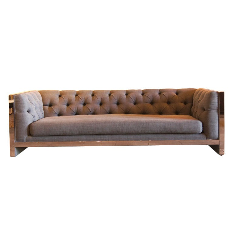 Milo Baughman Chrome Sofa With New Upholstery At 1stdibs