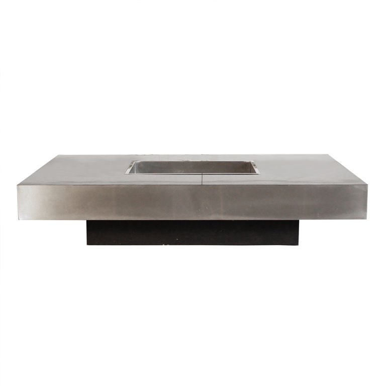 Black Laminate And Brushed Steel Coffee Table At 1stdibs