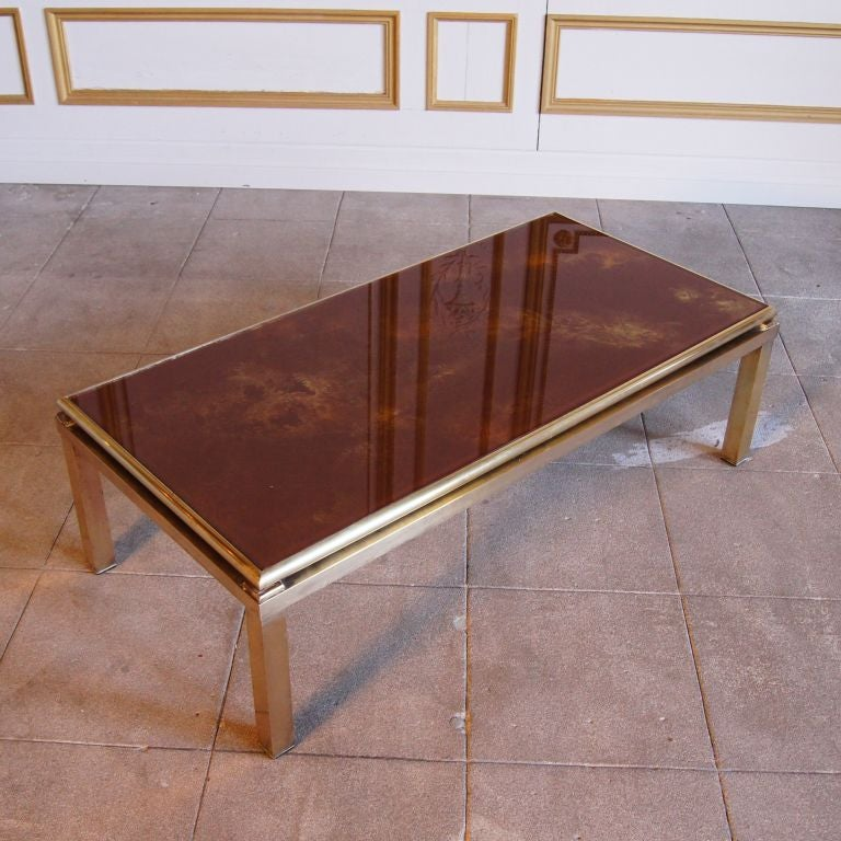 Coffee Table With Burnt Orange And Gold Reverse Painted Glass At 1stdibs