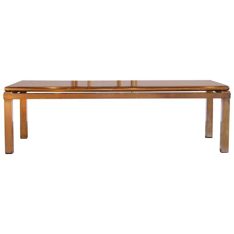 Coffee table with burnt orange and gold reverse painted for Orange coffee table