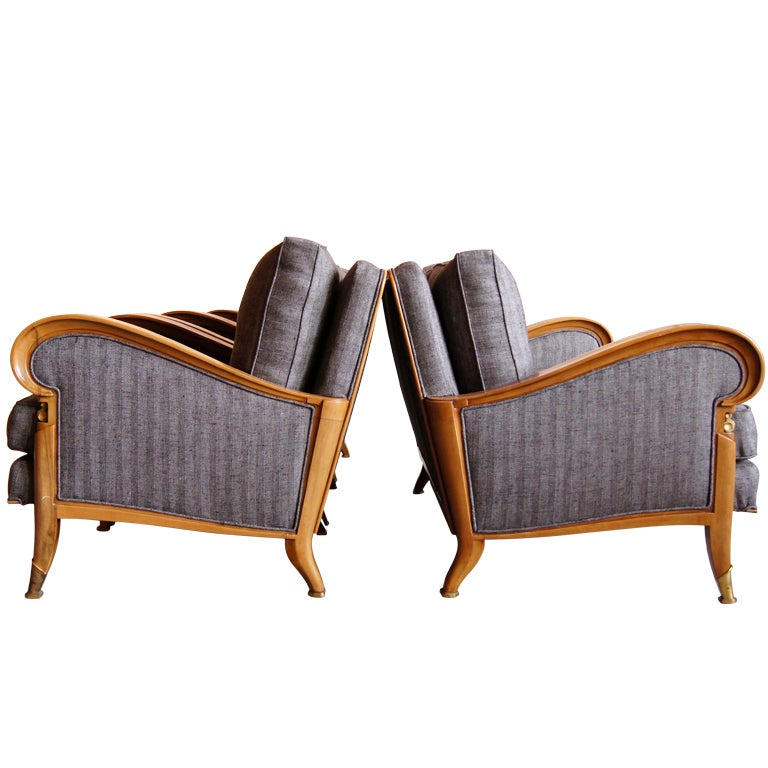 French Art Deco Set Of 3 Armchairs And Settee Signed At