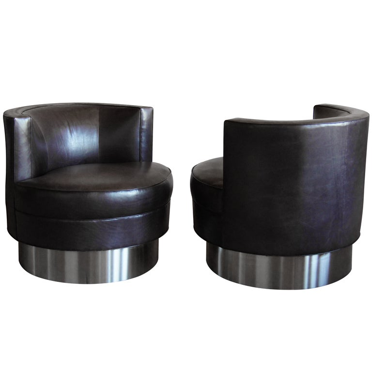 Pair Of Harvey Probber Swivel Chairs With Stainless Steel