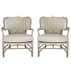 Pair Grandly Scaled French Provincial Chairs