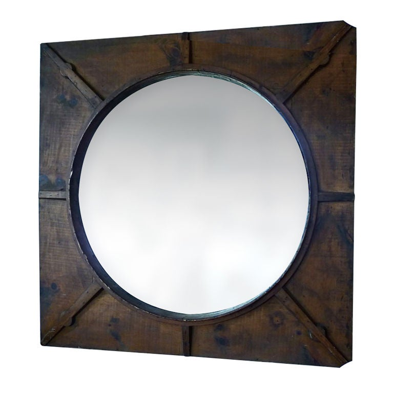 Unusual large rustic frame w mirror at 1stdibs - Unusual large wall mirrors ...