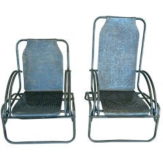Rare Pair Mom And Pop Steel Chairs