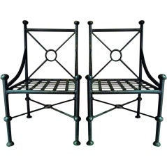 Pair Outsized Neoclassical Iron Chairs