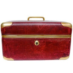 Red French Leather and Gilt Brass Mounted Jewelry Case, Early 20th c