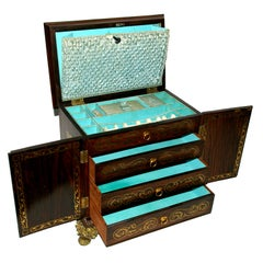English Regency Brass Inlaid Sewing Box, c1810