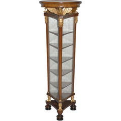 Triangulated Biedermeier Cherry and Gilt Carved Display Cabinet, circa 1830