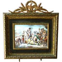 "Miniature Napoleonic Painting on Ivory ""Battle de Wagram,"" circa 1840"