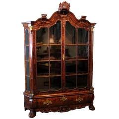 Dutch Rococo Ormolu-Mounted Burl Walnut Cabinet, Late 18th Century