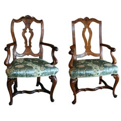 Near Pair of Venetian Walnut Open Armchairs, c1730