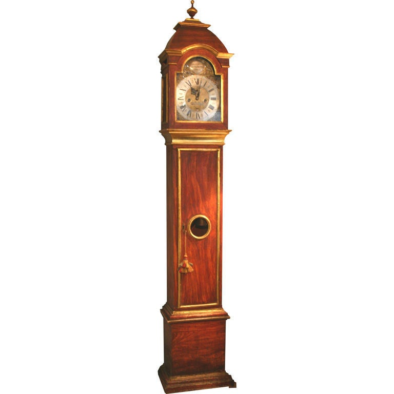 Italian Red Grain Painted and Gilt Decorated Tall Case Clock, circa 1790