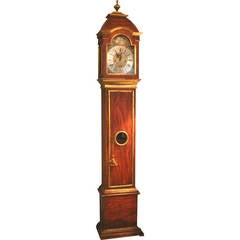 Italian Red Grain Painted and Gilt Decorated Tall Case Clock, c1790