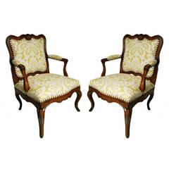 Pair of Italian Walnut Open Armchairs, circa 1750