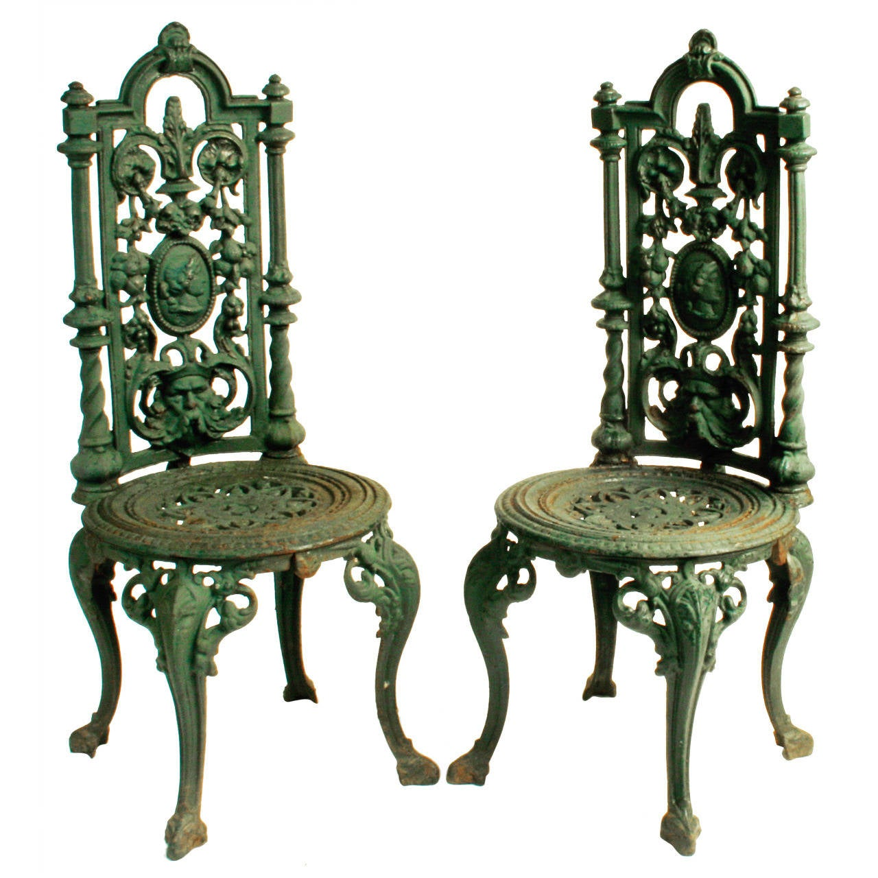Pair of victorian cast iron garden chairs c1880 at 1stdibs Cast iron garden furniture