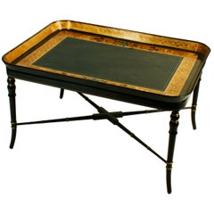 Papier Mâché Tray with Later Custom Stand English, Early 19th Century