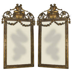 Pair of Gilt Carved Neoclassic Mirrors, Italian, circa 1780