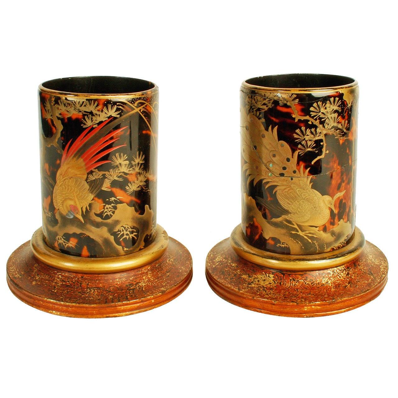 Pair of Japanese Tortoiseshell Brush Pots, Late 19th Century