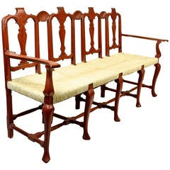 Dutch Rush Seated Walnut Bench, Mid-18th Century