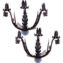 Pair of 19th Century Wrought Iron Sconces, circa 1850