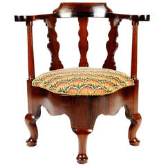 English Mahogany Corner Chair in the Queen Anne Style, 19th Century