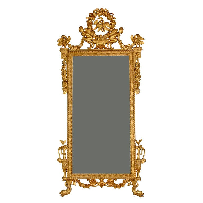 ITALIAN NEOCLASSICAL GILT CARVED MIRROR, GENOVESE