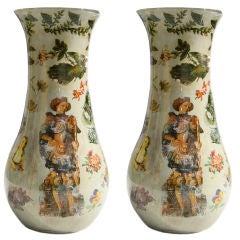 Pair of Reverse Polychrome Decorated Decalcomania Vases, Italian, circa 1860
