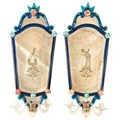 Pair of Venetian Glass Girandoles, Early 20th Century