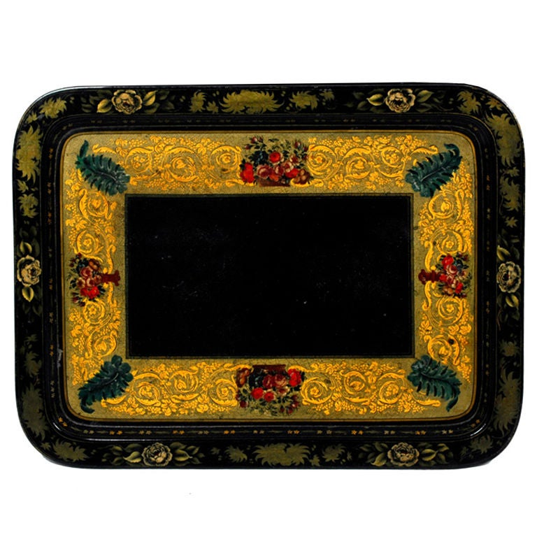 Decorated Papier Mache Tray on Custom Stand, circa 1860