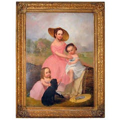 Portrait of Three Children and Pet Dog, c1850