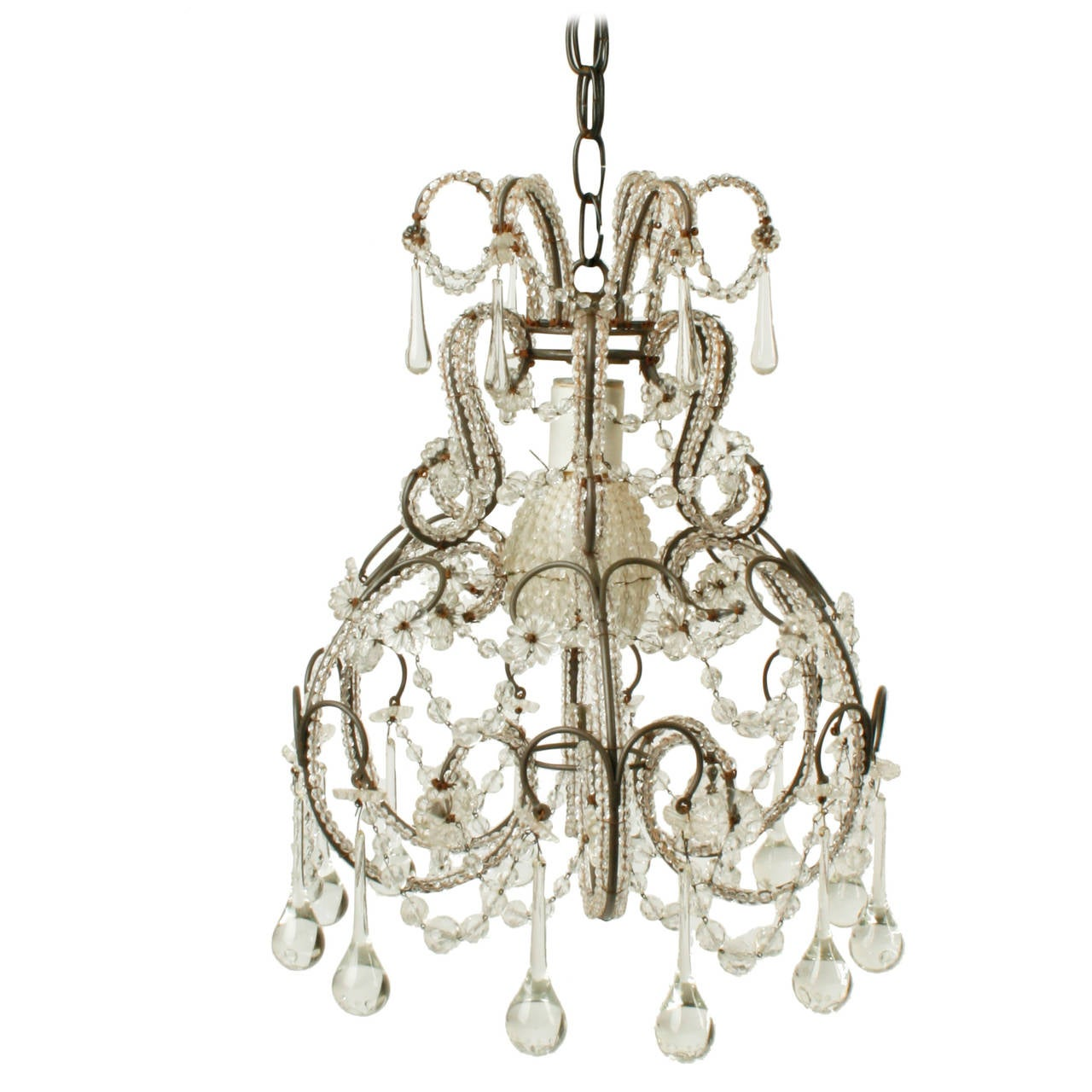 Small French Crystal Chandelier, circa 1920