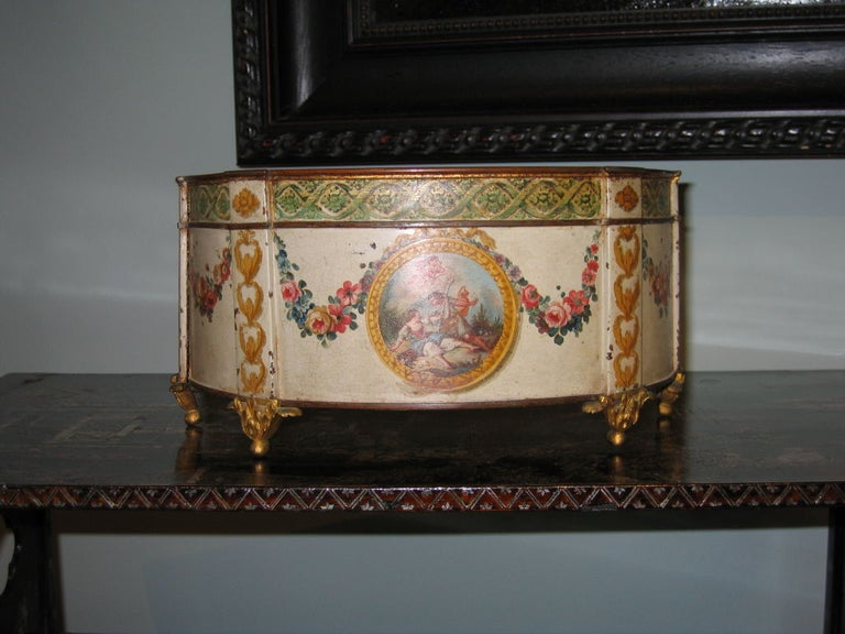 French Louis XVI Painted and Gilt Decorated Tole Cachepot, c1780 For Sale