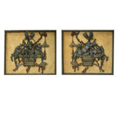 Pair of Carved Chinoiserie and Polychrome Painted Panels