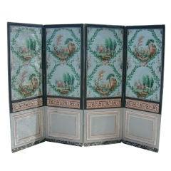 French Four Panel Folding Wallpaper Screen