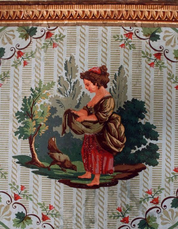 Empire French Wallpaper Screen, circa 1800 For Sale