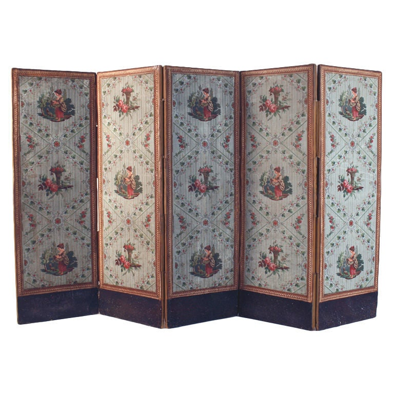 French Wallpaper Screen, circa 1800 For Sale