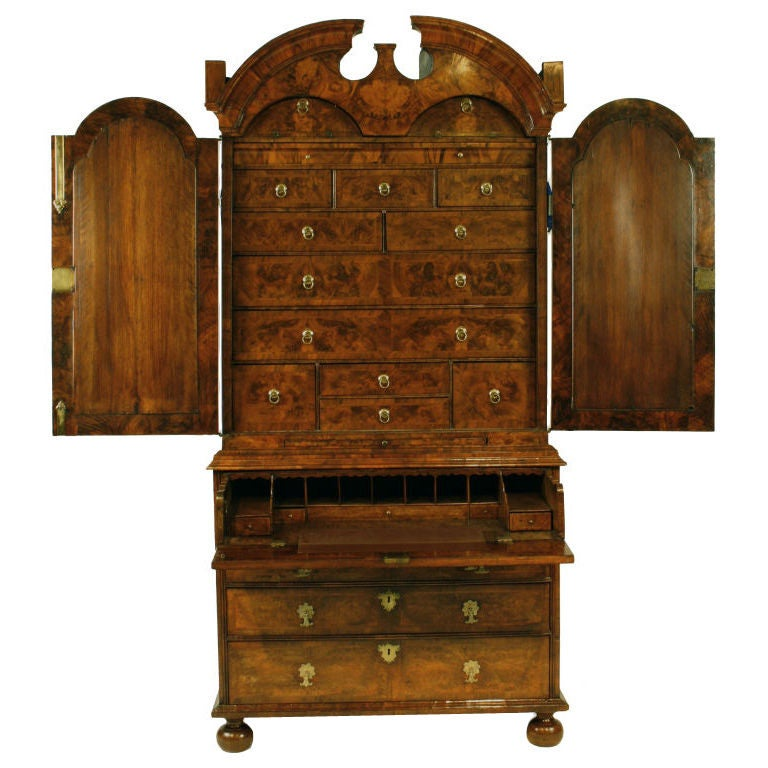 queen anne double dome secretaire cabinet at 1stdibs
