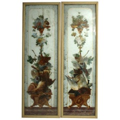 Pair Of 19th C French Painted Panels Signed L. Thivet R. Tureen