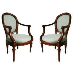 Pair of Italian Neoclassical Walnut Armchairs, circa 1780