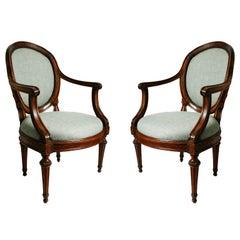 Pair of Italian Neoclassical Walnut Armchairs, c1780