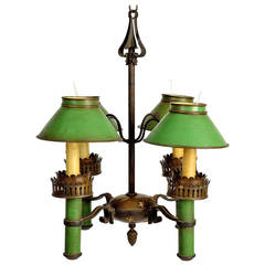 Painted Tole and Brass Four-Light Chandelier, Early 20th Century