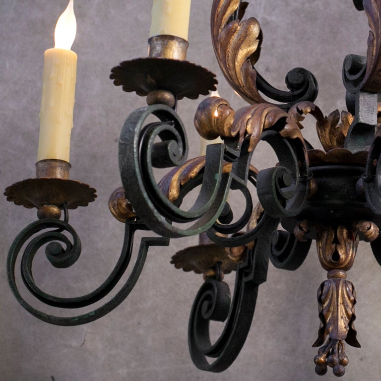 French Polychrome Iron Chandelier Six Arms At 1stdibs