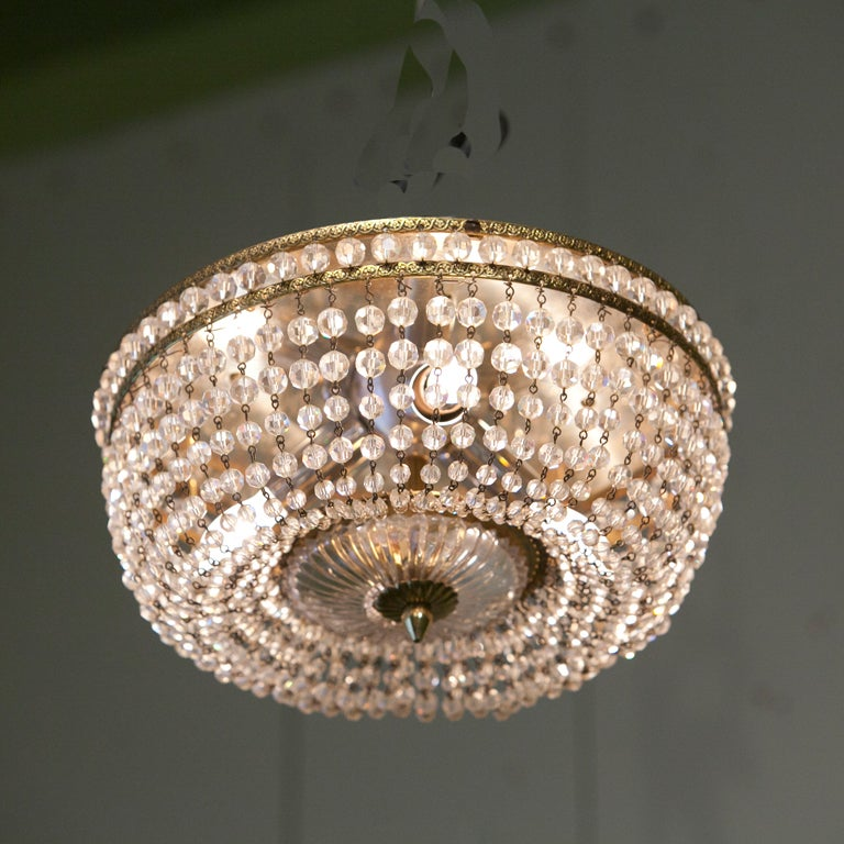 Vintage Crystal Beaded Flushmount Light From Italy At 1stdibs