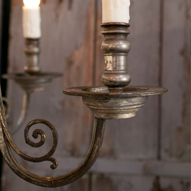 Nickel-Plated Flemish Style Six Arm Chandelier