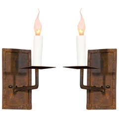 """Pair of Hand Made Iron """"Bexar"""" Sconces"""