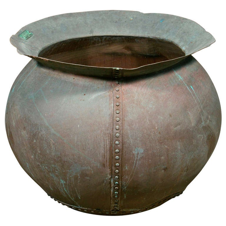 Vintage French Large Copper Industrial Style Vessel, circa 1900 1