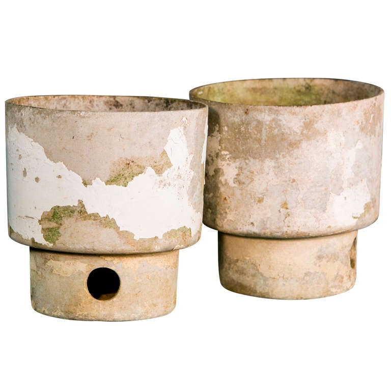 Set Of Two Mid Century Fiber Cement Planters At 1stdibs